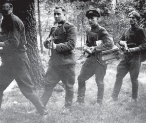 Partisans carried not only submachine guns, but also musical instruments.