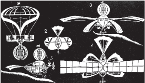 Illustrations from Griškevičius's booklet showing his steam-flyer and other aerial machines.