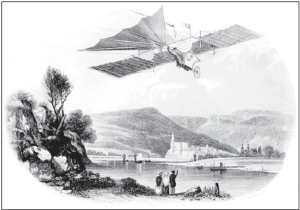 Imaginary view of Henson's Ariel Steam Carriage flying over a mountanous landscape. Although the Ariel never actually flew, it was an inspiration to Griškevičius for his steam-flyer.