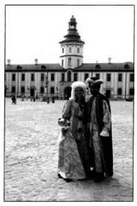 Couple in period costume visiting Nesvizh Castle (she's from the Czech Republic, he's from Kuwait)