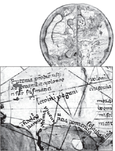 Pietro Vesconte's 1321 manuscript map of the known world, included in Marino Sanudo's book. Vesconte placed Lithuanians next to the Baltic Sea (left bottom part of the map) and called them Letvini pagani  (pagan Lithuanians).