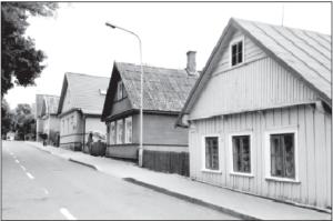 Karaimų gatvė (Karaite Street) in Trakai.  All the houses have three windows facing the street. According to Karaite tradition, the three windows symbolize God, country and Grand Duke Vytautas.