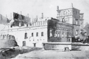 The same palace as it looked at the end of the eighteenth century before it was razed to the ground by tsarist authorities. (Painting by Pranciškus Smuglevičius, 1785.)
