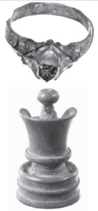 A beautiful gold ring with a diamond; A fifteenth century chess piece made of bone. These are some of the numerous artifacts found during archaeological research of the palace site.