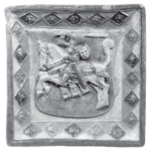 A sixteenth century ceramic tile with Lithuania's coat of arms