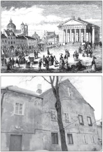 TOP: The old Vilnius Town Hall Square, a popular gathering place for the city's elite, with the Church of St. Casimir on the left and Town Hall on the right (early 19th century engraving). ABOVE: This is what is left of the SS Joseph and Nicodemus Church, rebuilt as a private residence in the late 18th century.