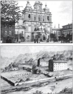 TOP: During the Czarist occupation of Lithuania in the 19th century, the Catholic Church of St. Casimir was converted into an Orthodox one, with Fabergé egg-style cupolas on the main entrance and roof (early-20th century postcard). ABOVE: The Radvila family donated this mansion, located near Vilnius' Vingio Park, to the Jesuits (early-19th century painting).