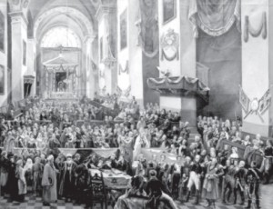On July 14, 1812, Lithuanian patriots met with Napoleon inside Vilnius Cathedral and asked for independence from Russia.
