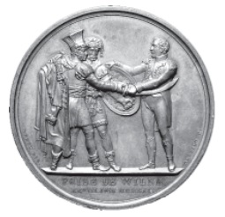 Table medal struck in Paris in 1812 to commemorate the taking of Vilnius. It shows Napoleon handing a shield to a Lithuanian and a sword to a Pole.
