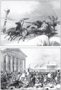 TOP: Napoleon hurries back to Paris through the Lithuanian countryside. ABOVE: The Grand Army returning to Vilnius. In this nineteenth-century lithograph, remnants of the decimated army passes the city's Old Town Hall.
