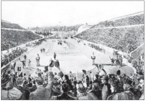 Panathinaiko Stadium in Athens during the first day of the 1896 Olympics. During this event, Mineyko was a press correspondent for Polish newspapers.