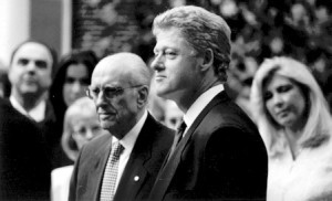 Greek Prime Minister Andreas Papandreou with the President of the United States, Bill Clinton, Washington, DC. April 1994.