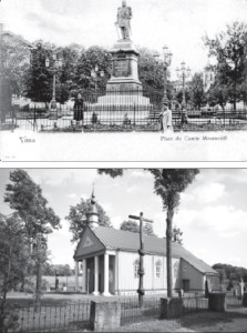 "Monument to General Muravyov ""The Hangman"" erected in a Vilnius square by the Czarist regime (early 19th century postcard.) LEFT, BOTTOM: The old church of Paberžė where Rev. Mackevičius preached, and the churchyard where many of the 1863 1864 insurgents are buried."