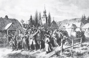 Zigmantas Sierakauskas leads a group of peasants during the insurrection of 1863 in Gardinas (from a 19th century engraving.)