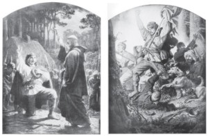"Two drawings by Artur Grottger from his series ""Lituania"" (1864-1866): The Rebel's Oath and Samogitians on the Attack with Hunting Dogs."