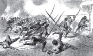Insurgents assault a Russian garrison (from and old engraving.)