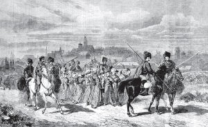 Cossacks on horseback lead a group of insurrectionists to Siberia (from a 19th century engraving.)