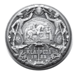 Medal by renowned Lithuanian sculptor and medalist Petras Rimša struck in 1927 to commemorate the regaining of Klaipėda. It shows a Lithuanian girl welcoming a warrior