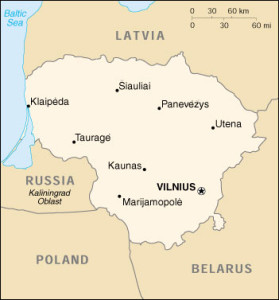 On this map of Lithuania, the Klaipėda Territory is indicated by the dark area on the left.