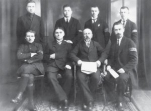 Col. Jonas Polovinskis-Budrys (seated in front row, second from the right), leader of the Klaipėda Insurrection, and his staff.