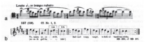 Example of Stravinsky's borrowings from Juška in The Rite of Spring. Above is the bassoon melody in the introduction (a) compared with Juška's daina number 157 (b). Parts of a total of six Lithuanian dainos are thought to have been used by Stravinsky.