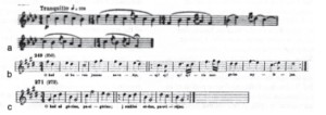 Another example of borrowed folk music in the trilled flute tune (tranquillo) at start and end of Spring Rounds (a) compared wuth Juška's dainos numbered 249 and 271 (b and c), portions of which were joined together and made into a hybrid tune.
