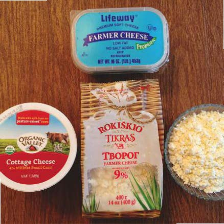 Choices for cottage cheese: creamed, Farmer's cheese (2 choices shown) or homemade curds. The Rokiškio 9% in the center is excellent (it's from Lithuania!).