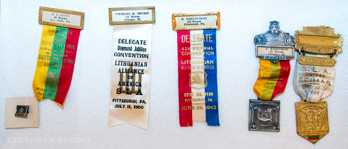 Historic Lithuanian Alliance of America convention badges.