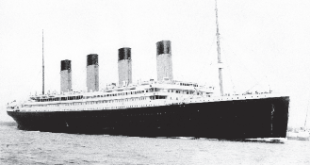 RMS Titanic departing Southampton on April 10, 1912.