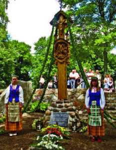 Wayside shrine dedicated to Fr. Montvila in Liubavas.