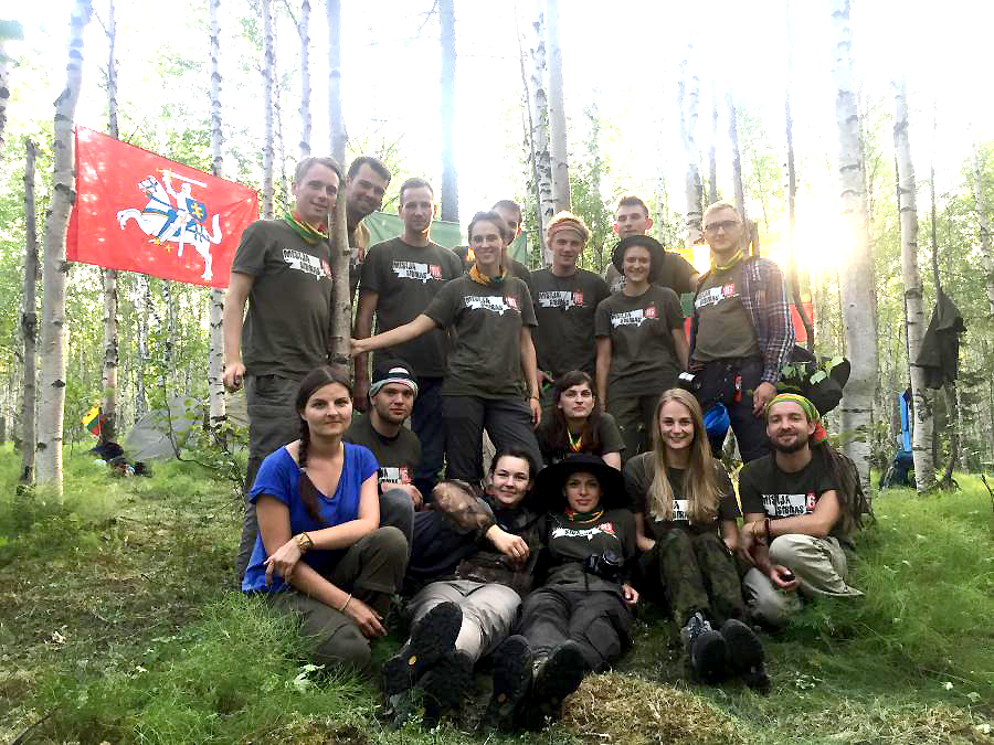 Mission Siberia participants in the Siberian forest.