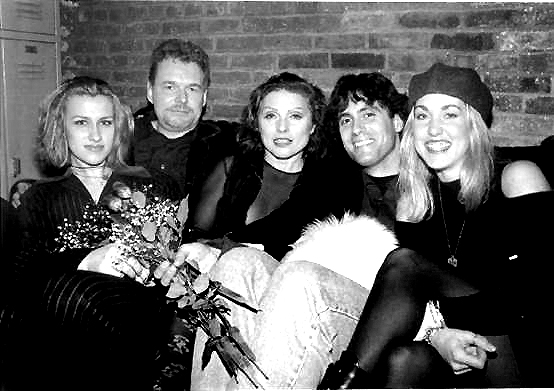 Linas (second from left) ​with Deborah Harry of Blondie (center) and Agora co-workers in Cleveland in the mid 1990's.