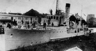 "The ship ""Prezidentas Smetona"" on the Akmena-Danė River (Dangės upė) in 1927."