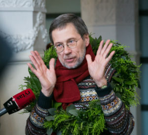 Professor Liudas Mažylis at the Vilnius airport.