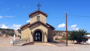 Our Lady of All Nations Church in New Mexico. Our Lady of Šiluva stands guard on the left.