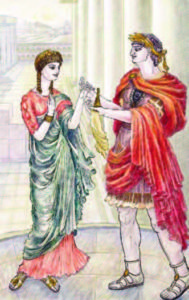 Emperor Nero presenting an amber figurine to his second wife, Poppaea Sabina the Younger.