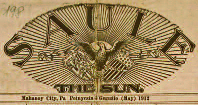 The logo from the front page of Saulė, Friday, May 3, 1912.
