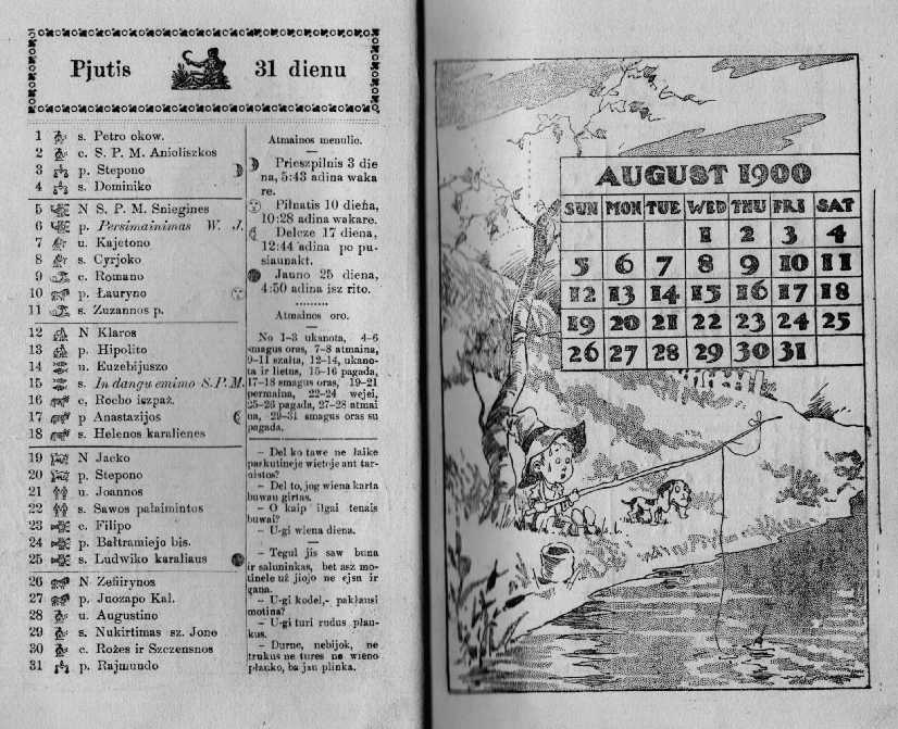 A page from the 1900 calendar booklet sent to all Saulė readers.
