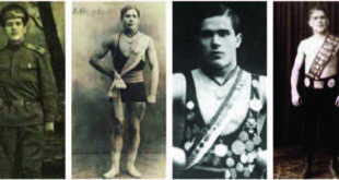 Požėla as a young soldier and wrestler.