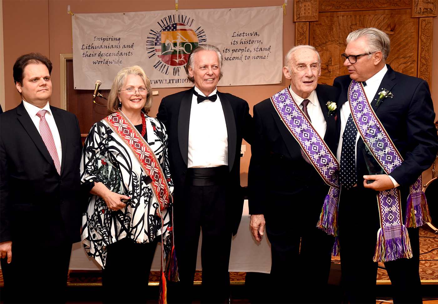 2015 National Lithuanian American Hall of Fame inductees: from left, actress Ann Jillian, NLAFH president Jon Platakis, solist Arnold Voketaitis and actor Vyto Ruginis.