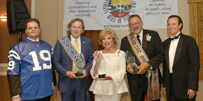 On August 24, 2013 Lithuanian-American legends, Dick Butkus, Ruta Lee and Johnny Unitas (represented by hs son John C. Unitas Jr) were the first inductees into the National Lithuanian American Hall of Fame. The induction ceremony took place at the Lithuanian World Center in Lemont, IL. Among the guests were football great Doug Buffone and Hockey Hall of Fame member Bobby Hull. Pictured (from left) are the Lithuanian Consul General Marijus Gudynas, John C. Unitas Jr, Ruta Lee, Dick Butkus and the organizer of the event, Jon Platakis.