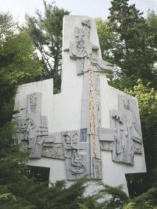 """The Triad"" bas relief panel for Vatican Pavilion, 1964. Installed at Franciscan Friary, Kennebunkport, ME."