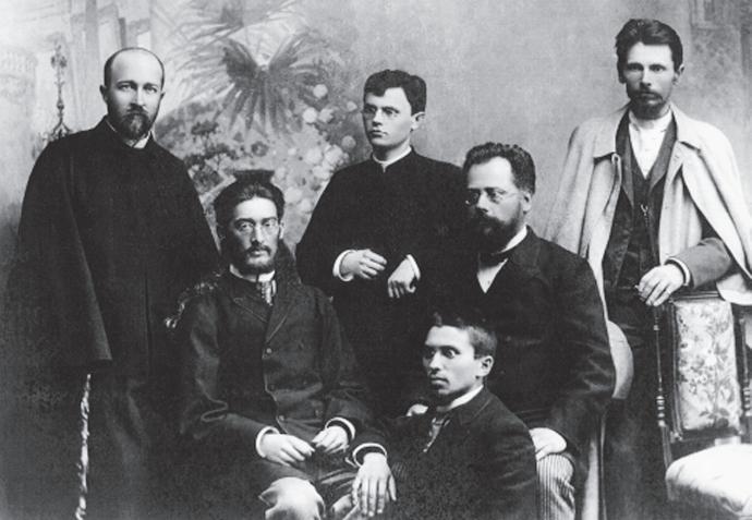 """Members of the """"Varpininkai"""" (proponents of Varpas and its ideas). Standing from left to right: Jonas Jablonskis, Juozas Tumas, Vincas Kudirka; seated: Motiejus Lozoraitis, Motiejus Čepas and Gabrielius Landsbergis-Žemkalnis."""