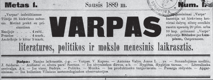 The masthead of the first issue of Varpas, January 1889. (epaveldas.lt)