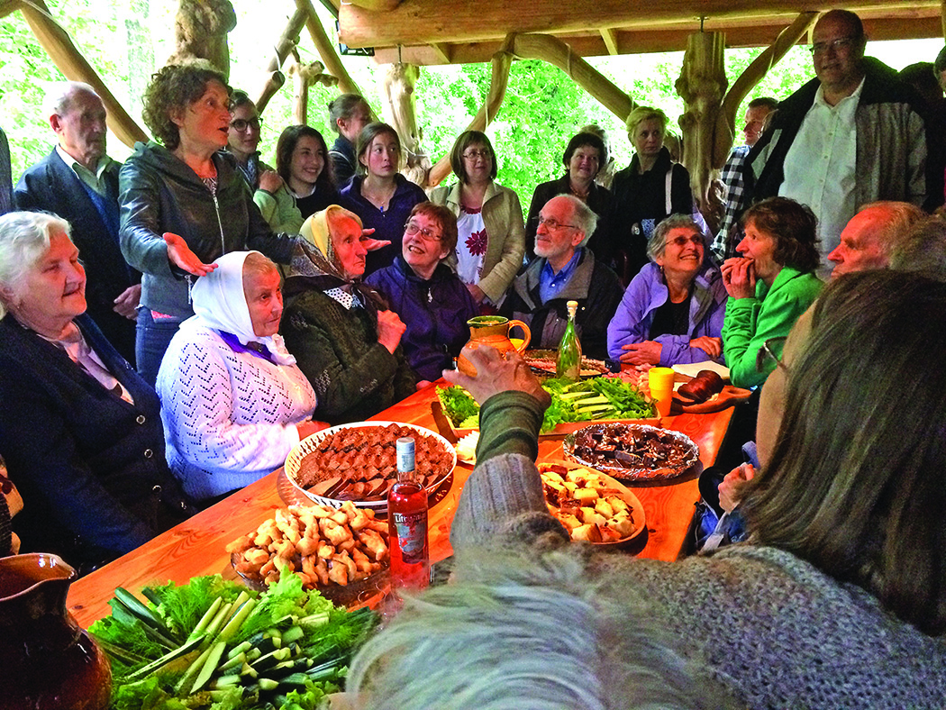 Village Harmony mixing it up with the locals in Žiūrai, in the Dzukija region of Lithuania.