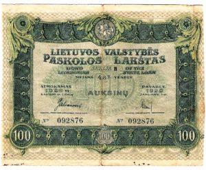 Lithuanian State Bond 100 Auksiniai, 1919.