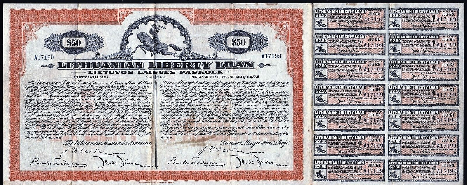 Fifty dollar Lithuanian Liberty Loan Certificate, 1920.