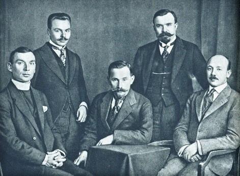 Lithuanian attendees at the Conference of Lausanne in Switzerland, 1918. From left: Rev. Juozas Dabužis, Kazys Pakštas, Antanas Smetona, Martynas Yčas, and Balys Mastauskas (Frank Mast).