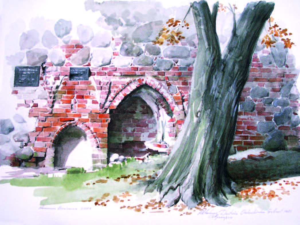 Fragment of a German church at Allenburg, Prussia. Watercolor. 2004.