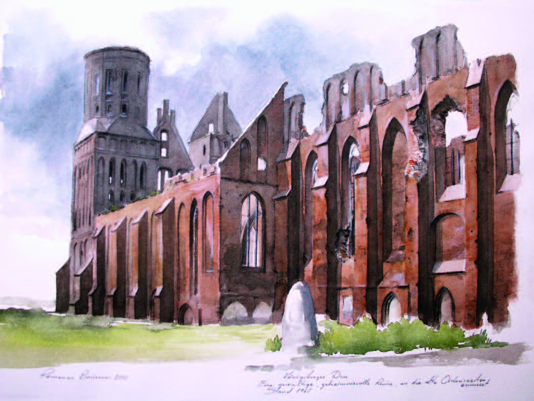 Majestic ruins of the cathedral at Kˆnigsberg. Watercolor, 2010.